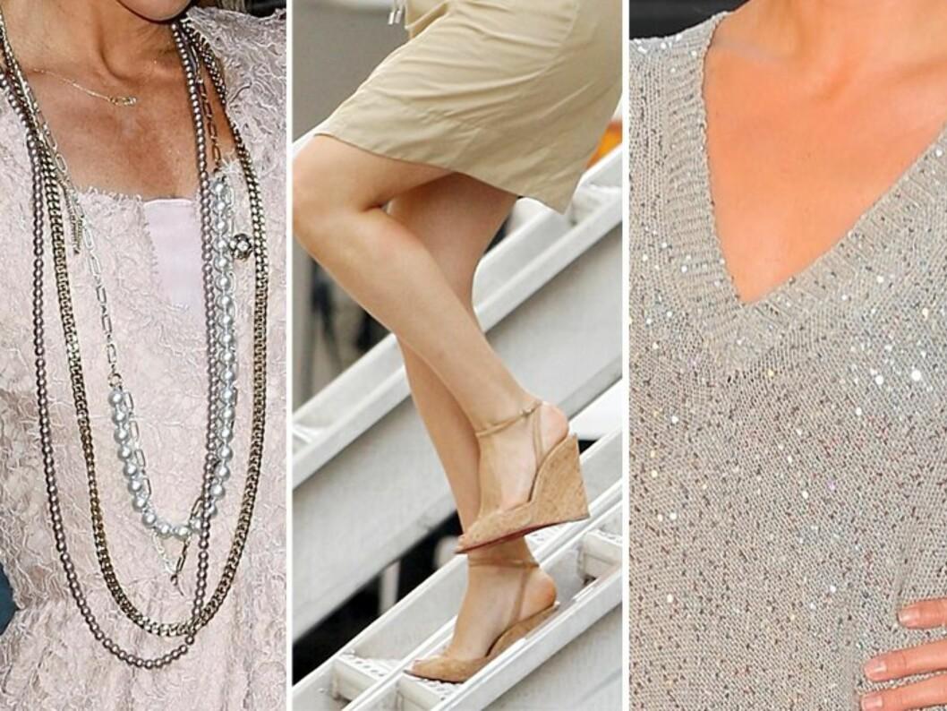 FORLENGER: Lange smykker, nude sko med kilehæl eller platformsåle, dyp v-hals. Alle disse elementene virker forlengende på kroppen.  Foto: All Over Press