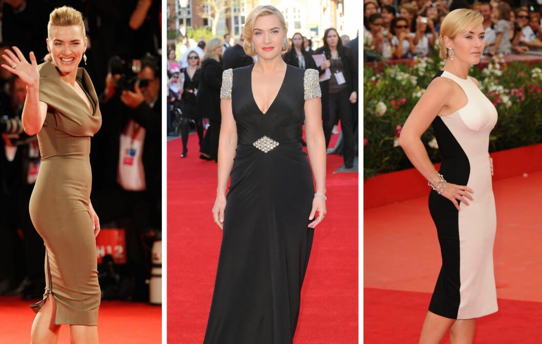 KLASSISK PÆRE: Skuespiller Kate Winslet har en mer klassisk pærefasong, med smalere midje og litt større bakende. Forskning tyder på at denne kroppsfasongen er sunnere for kvinner enn for eksempel eplefasongen.  Foto: All Over Press