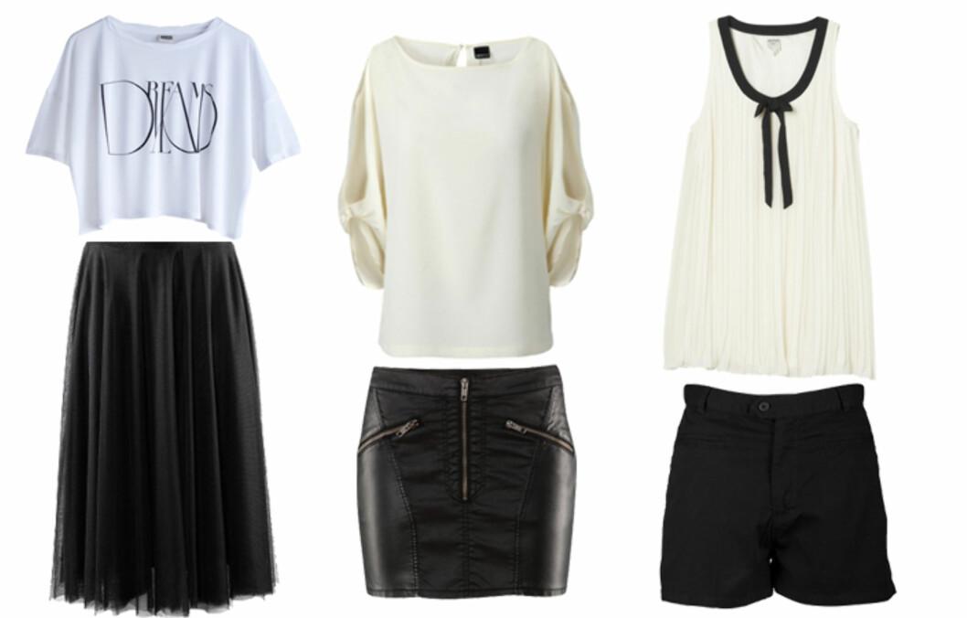 NOE FOR ENHVER: Uansett hvilken stil du har, svart og hvitt kler de aller fleste - men pass på så du ikke havner i kelnerfella. Se priser og flere kjøpetips i bildeviseren under. Foto: Produsentene
