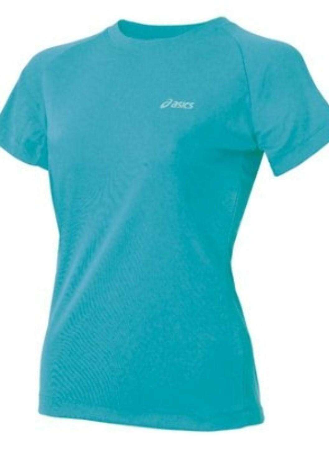 Knallblå trenings-tskjorte fra Asics i pustende stoff. 99 kroner fra Gsport.no.  Foto: Produsenten