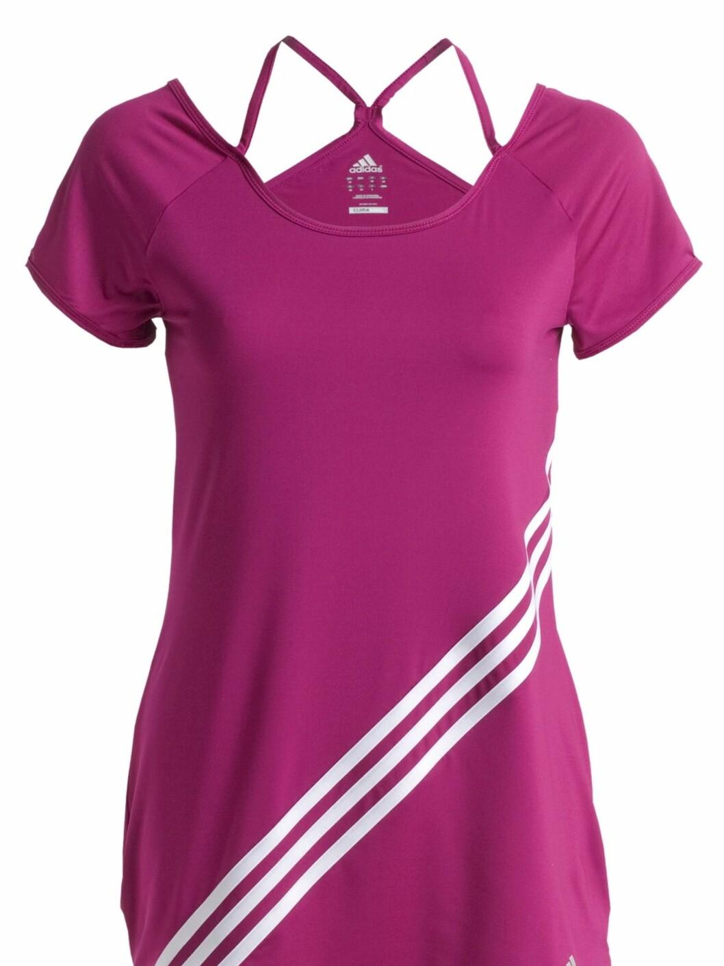 Kul treningstskjorte med åpning i ryggen fra Adidas. Toppen er laget i funksjonsmaterialet Climacool. 399 kroner fra Ellos.no.   Foto: Produsenten