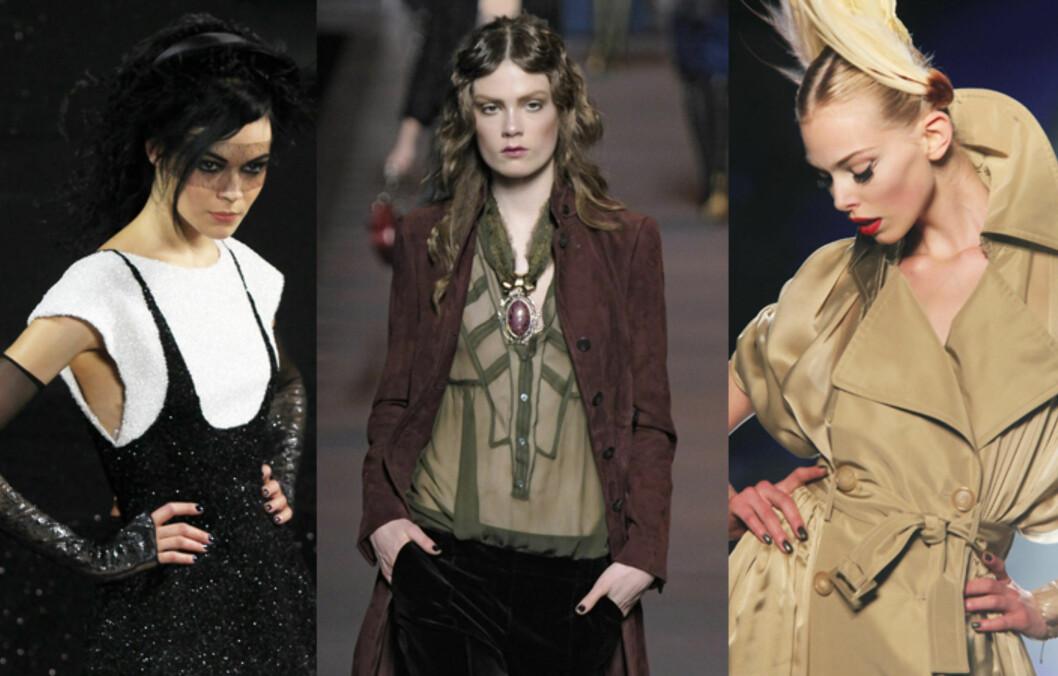 PÅ CATWALKEN: Under visningen av høst/vinterkolleksjonene til  (f.v) Chanel, Dior og Gaultier. Foto: All Over Press