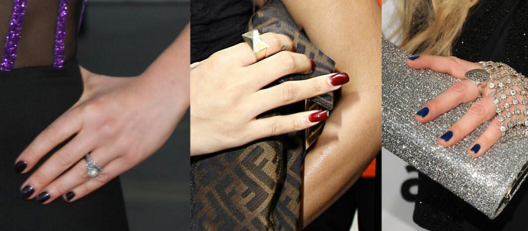 NÆRBILDE: (F.v) Anna Paquins svarte neglelakk, Rihannas burgunder og Ke$has blå. Foto: All Over Press