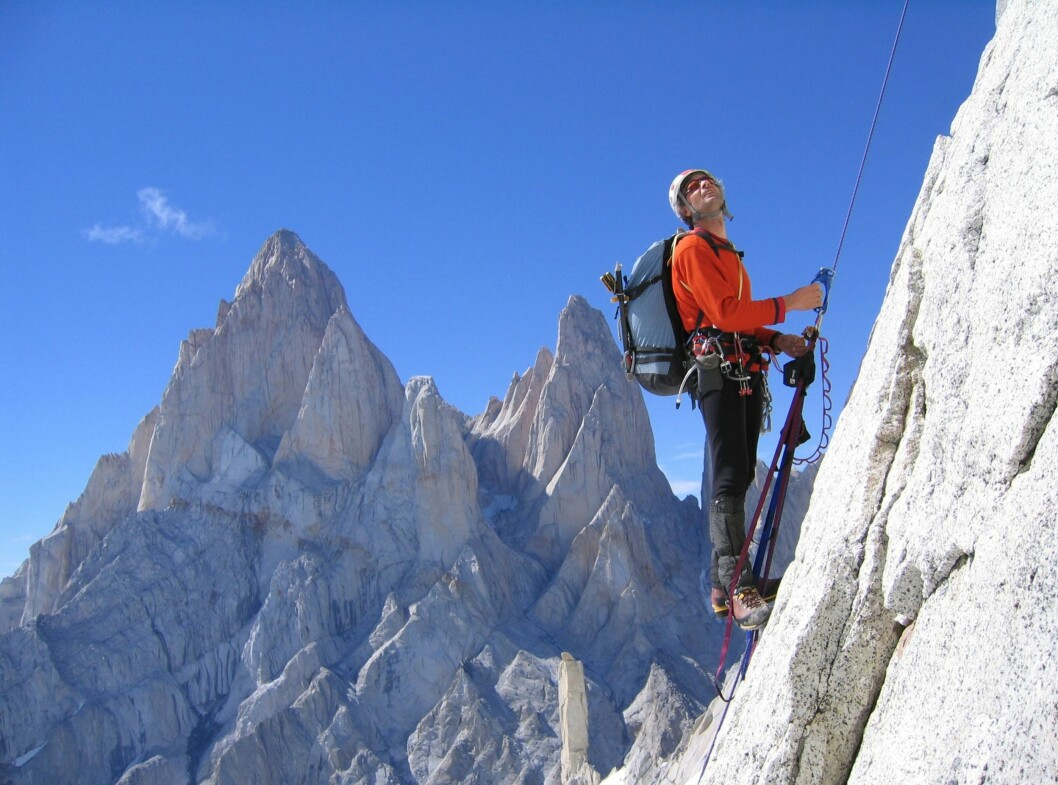 Houlding klatrer i Patagonia våren 2004. Foto: Berghaus