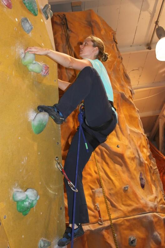 <strong>I VEGGEN:</strong> Her er Christine i veggen på Klatreverket.
