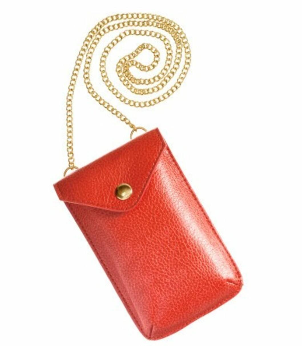 Rød mobilveske med gullenke (kr.24,50/H&M). Foto: Produsenten