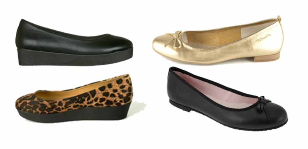 SMARTE BALLERINASKO: Kjøper du et par med tjukkere såle eller med liten hæl, vil de gjerne vare litt lenger. (Øverst f.v.) Svart sko med kraftig såle (kr.299/DinSko), gullfarget ballerina med hæl fra Tamaris (kr.499/Brandos.no), leopardmønstret fra Wildflower (kr.349/Brandos.no) og klassisk modell med sløyfe fra KmB (kr.798/Lillevinkelsko.no). Foto: Produsentene