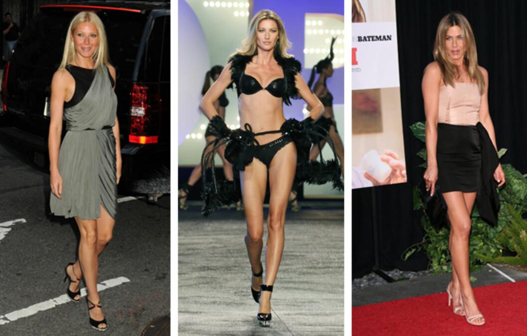 SEXY BEIN: Både Gwyneth Paltrow, Gisele Bündchen og Jennifer Aniston er kjent for sine lekre, smekre bein.  Foto: All Over Press