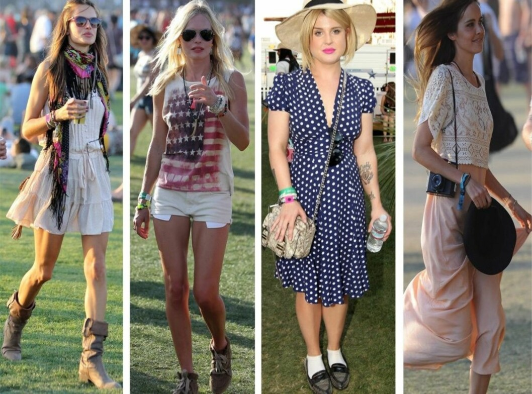 MED LITT ULL INNERST BLIR DU LIKE FIN: Alessandra Ambrosio, Kate Bosworth, Kelly Osbourne og Isabel Lucas på musikkfestivalen Coachella i California i april.  Foto: All Over Press