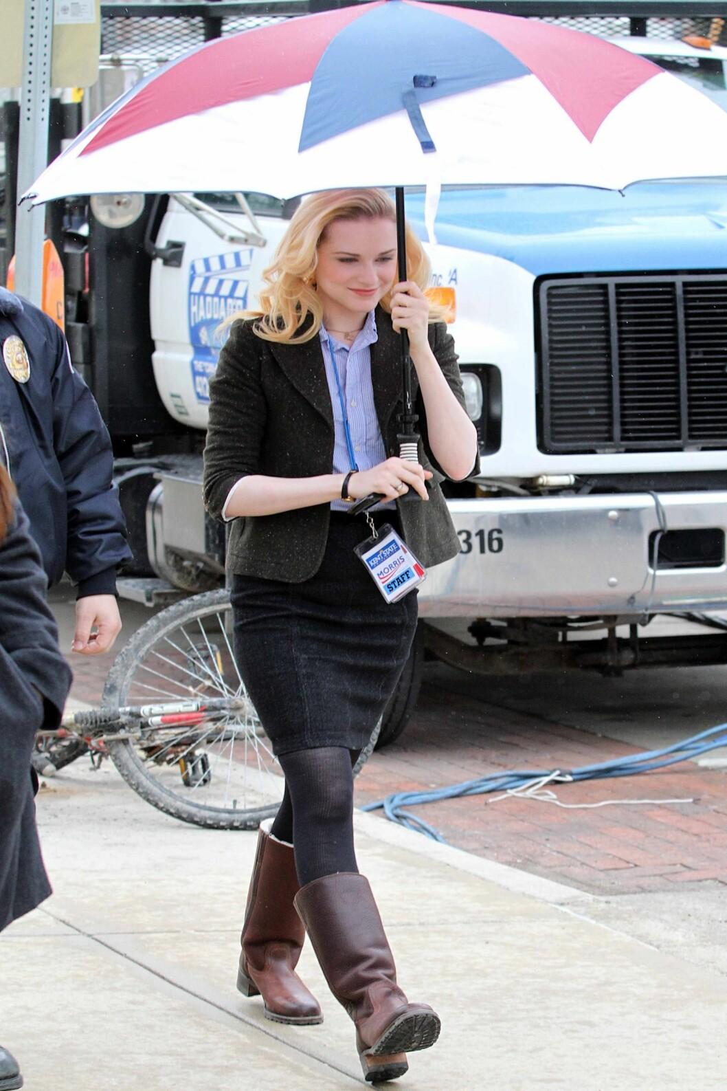 Skuespiller Evan Rachel Wood i trefarget modell. Foto: All Over Press