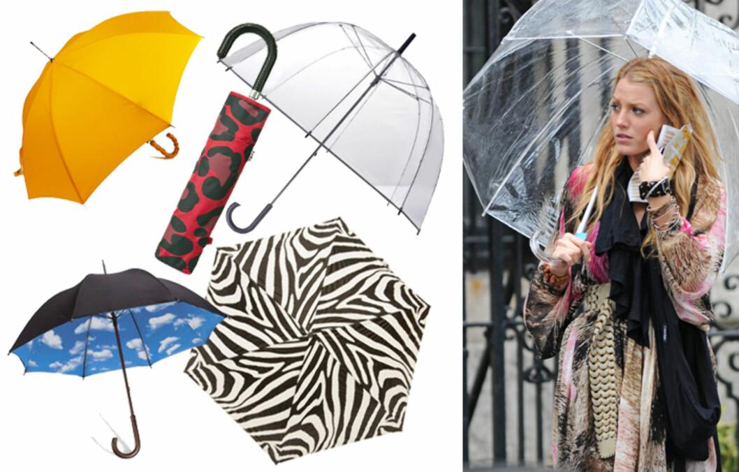SPREKE PARAPLYER: Ut med svart og inn med farger, mønstre eller fikse paraplyer.   Foto: Produsentene/All Over Press