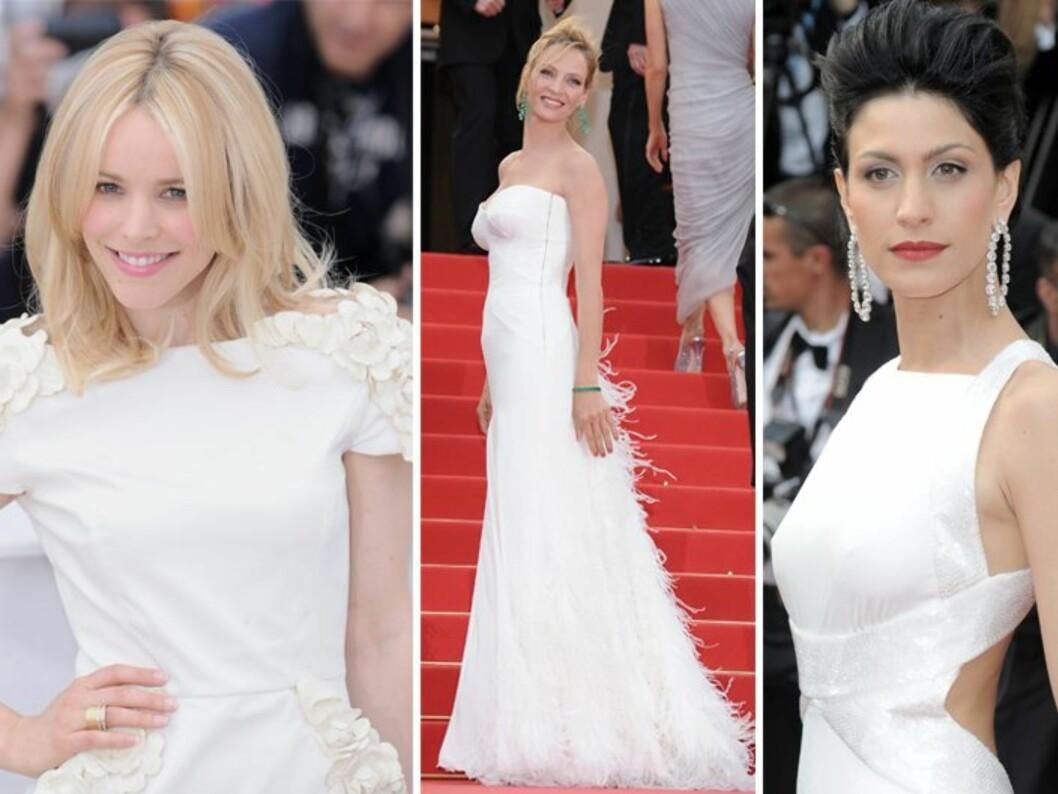 <strong>STRÅLTE I HVITT:</strong> Det er liten tvil om hvilken farge som gjelder på selskapskjolefronten i Cannes i år. Lær av stjernene – kle deg i hvitt! Foto: All Over Press