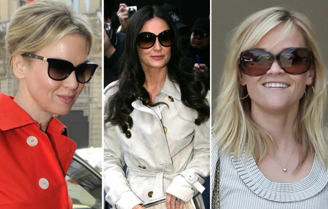 BRILLEFINE KJENDISER: De har ikke samme ansiktsform, men alle er fine i solbriller. Finn tommelfingerreglene for din ansiktsform lenger nede i artikkelen. Foto: All Over Press