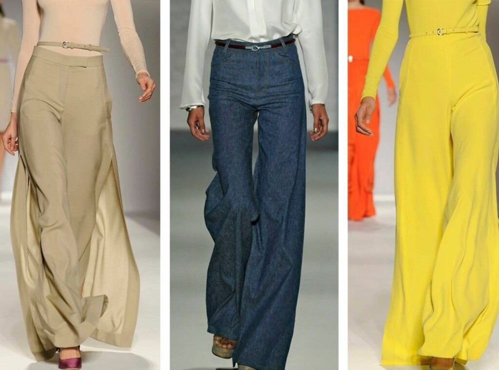 4f629157 BRUK ET TYNT BELTE: Designerne omfavner de flagrende glam-buksene fra 70-