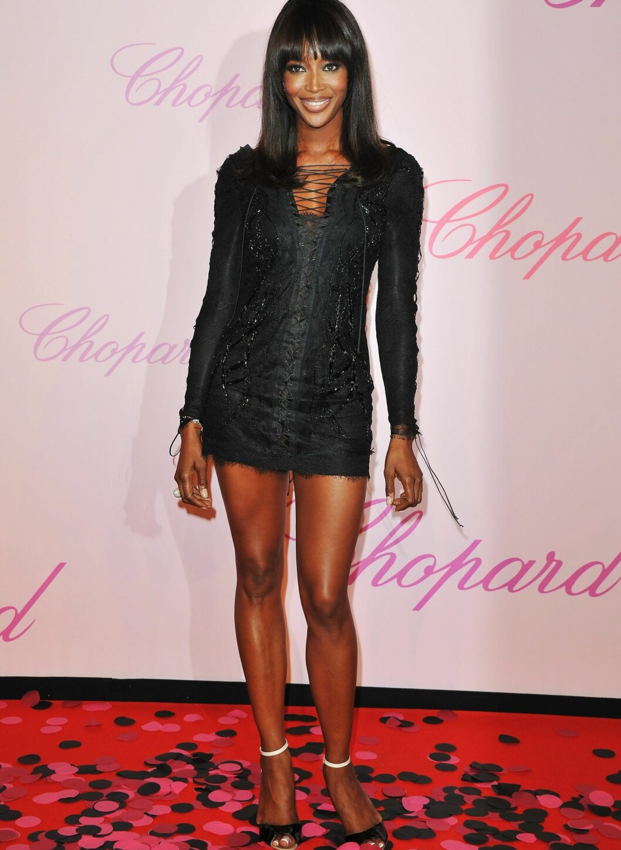 Supermodell Naomi Campbell på Diamonds Are Girls Best Friend Event i Cannes, her i lårkort Pucci med snøring. Foto: All Over Press