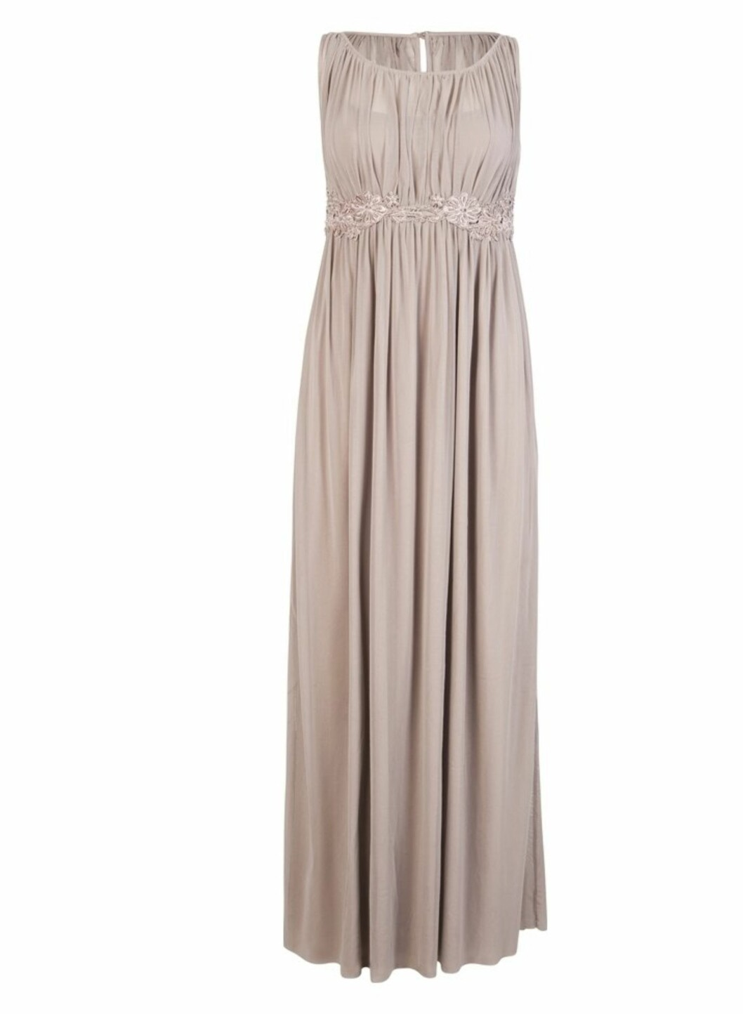 Lang pudderfarget kjole uten ermer (kr.499/BikBok). Foto: Produsenten