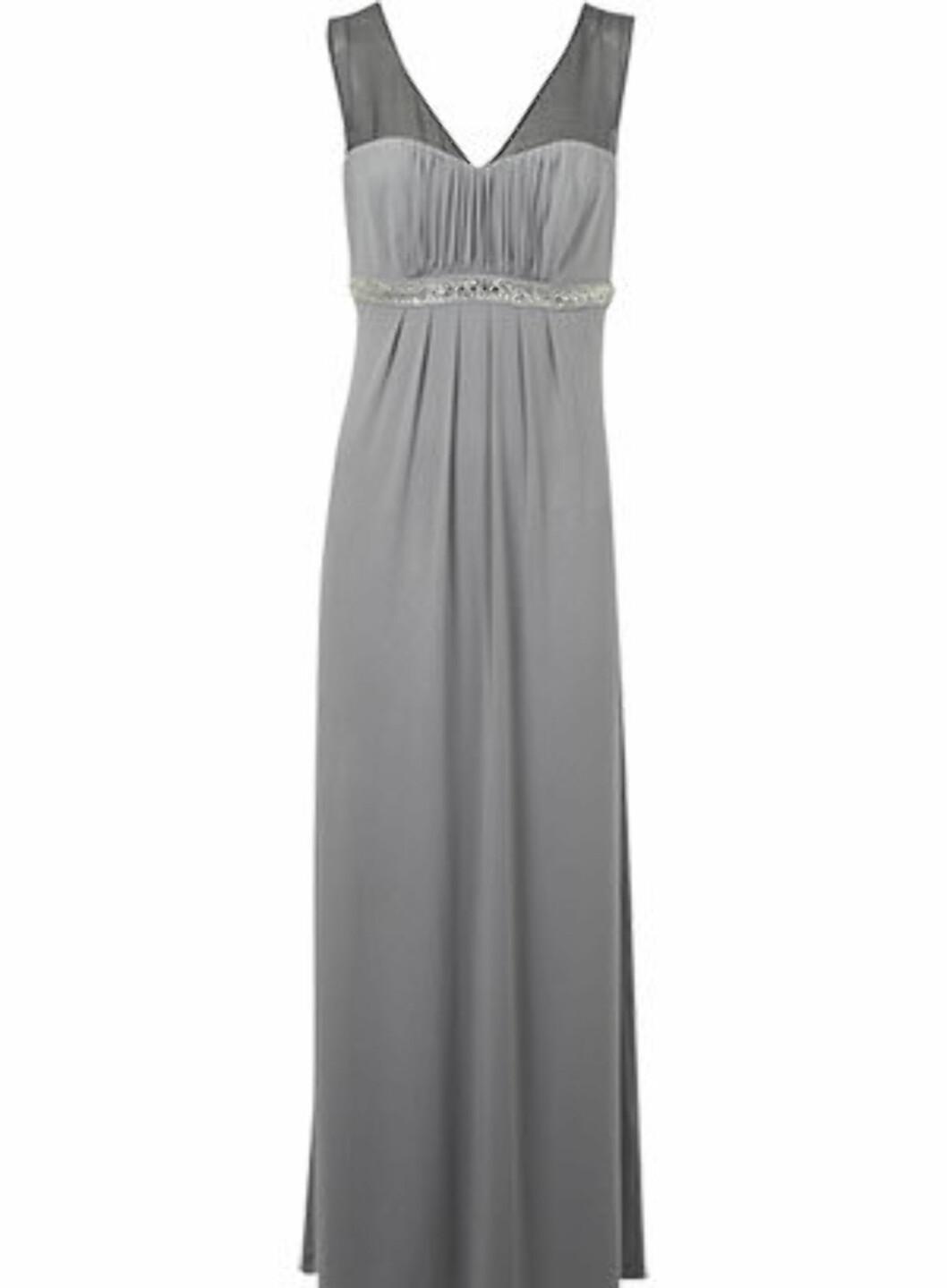 Fotsid dusgrå kjole med paljetter (ca kr.365/Oasis-stores.com). Foto: Produsenten
