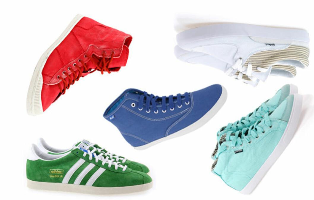 KLAR FOR VÅR: Sneakers kan like gjerne brukes til jeans som til kjole.  Foto: Produsentene