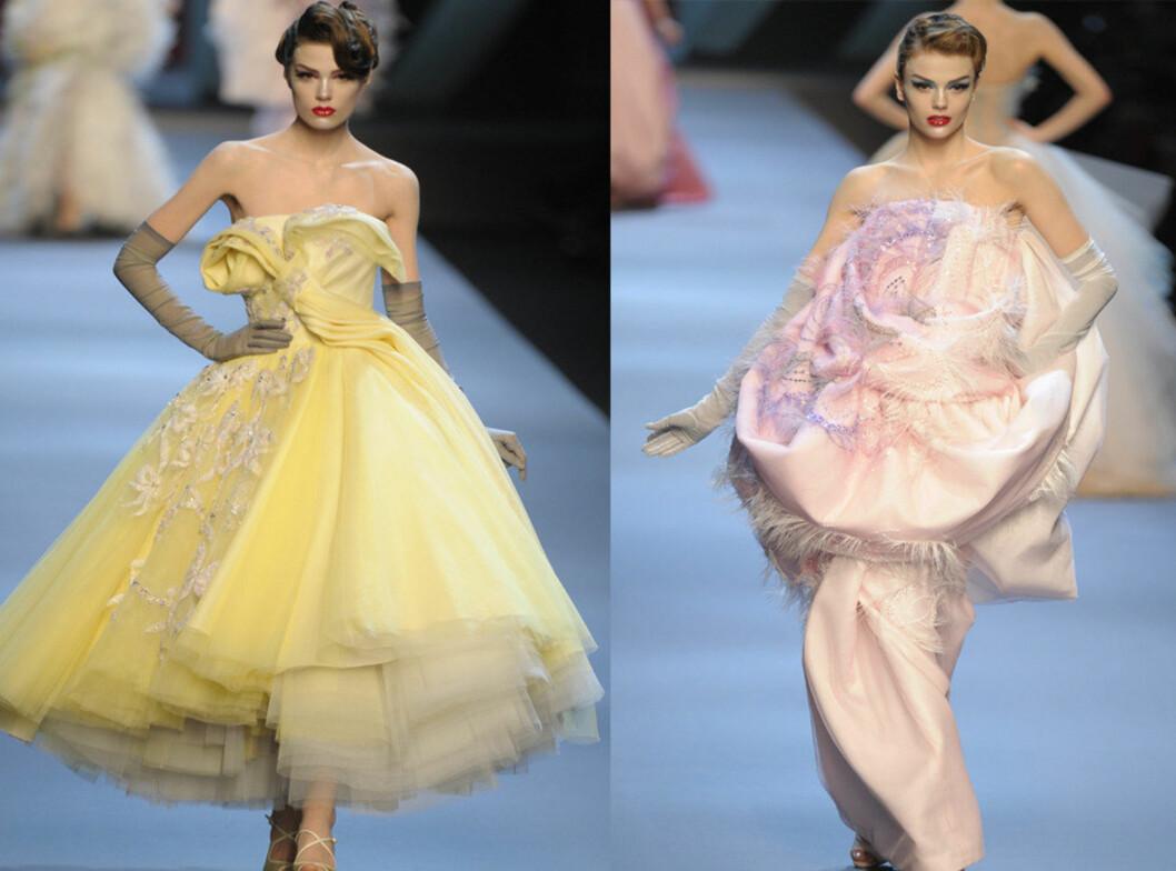 HER ER DE EKTE PRINSESSEKJOLENE: Haute couture-kjoler, som lett koste 100.000 kroner eller mer, i lysegul fromasj og melkerosa silke og chiffon signert det franske motehuset Christian Dior. Foto: All Over Press