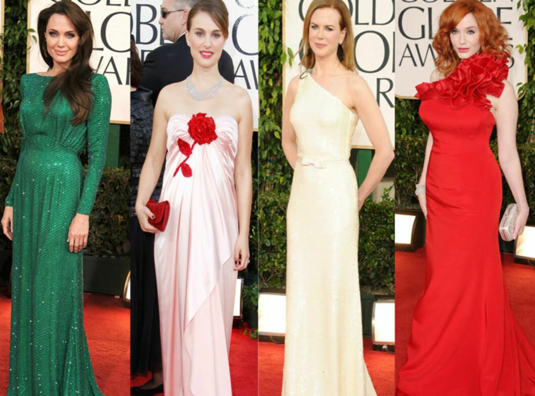 FINN DIN FAVORITT: Angelina Jolie, Natalie Portman, Nicole Kidman og Christina Hendricks. Foto: All Over Press
