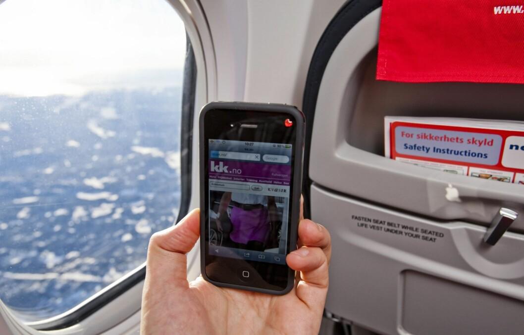 <strong>SURF PÅ FLYET:</strong> Norwegian har lansert bredbånd på fly, så nå kan du lese kk.no i lufta.  Foto: Per Ervland