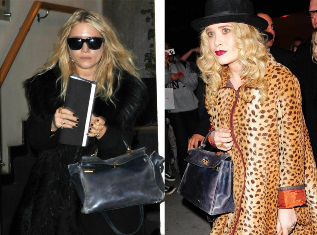 GIR IKKE SLIPP: Mary-Kate Olsen er stadig å se med sin vintage Hermés-veske.  Foto: All Over Press