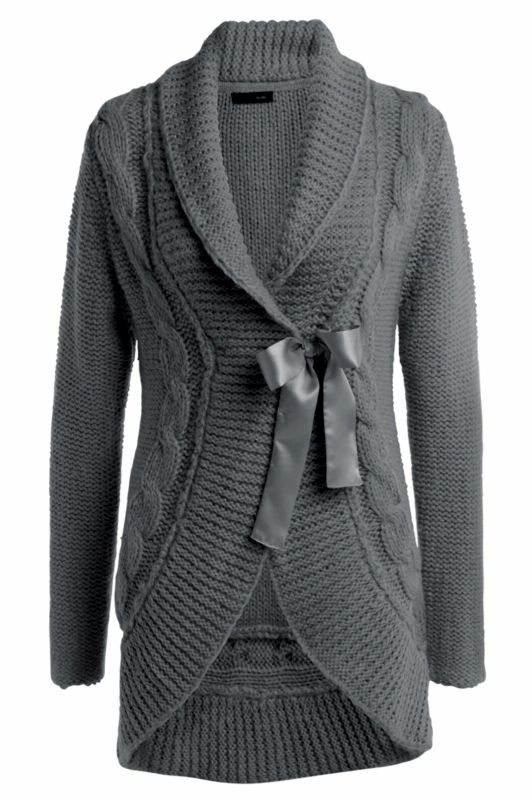 Lang, strikket akrylcardigan med sløyfelukking (kr 399, Ellos).