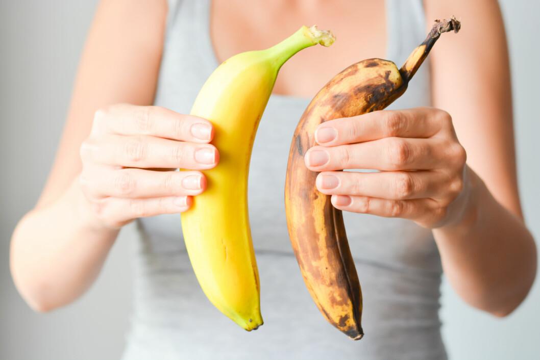 <strong>LIKE BRA:</strong> Den modne bananen er et godt valg for deg som trener, mens den grønne er fin for deg som passer vekta. Foto: Shutterstock / Ai825