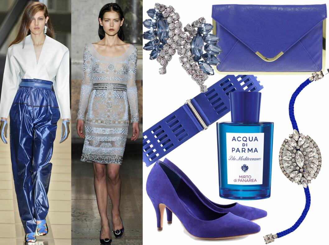 BLÅTT: Friske og fine blåtoner, som vist hos Balenciaga og Pucci. Kjøpsinfo finner du i bildekarusellen. Foto: All Over Press og produsentene