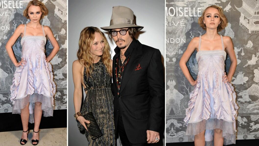 <strong>LILY-ROSE DEPP:</strong> Datteren til Johnny Depp (52) og Vanessa Paradis (42) har gjort seg bemerket hos deg franske motehuset Chanel.  Foto: Scanpix