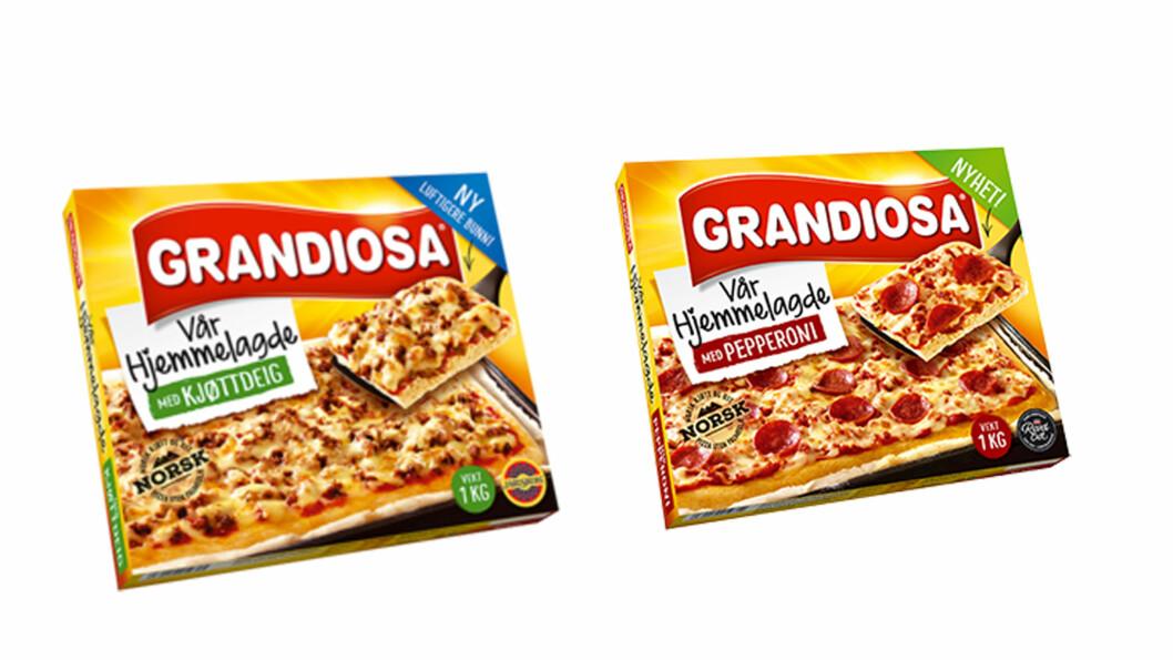PIZZA: De nye pizzaene til Grandiose er ifølge ernæringsekspertene altfor store.  Foto: Produsenten