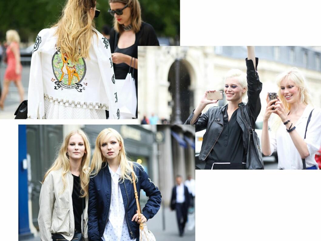 STREETSTYLE: Disse jakkene brukte it-jentene under Fashion Week. Foto: Scanpix