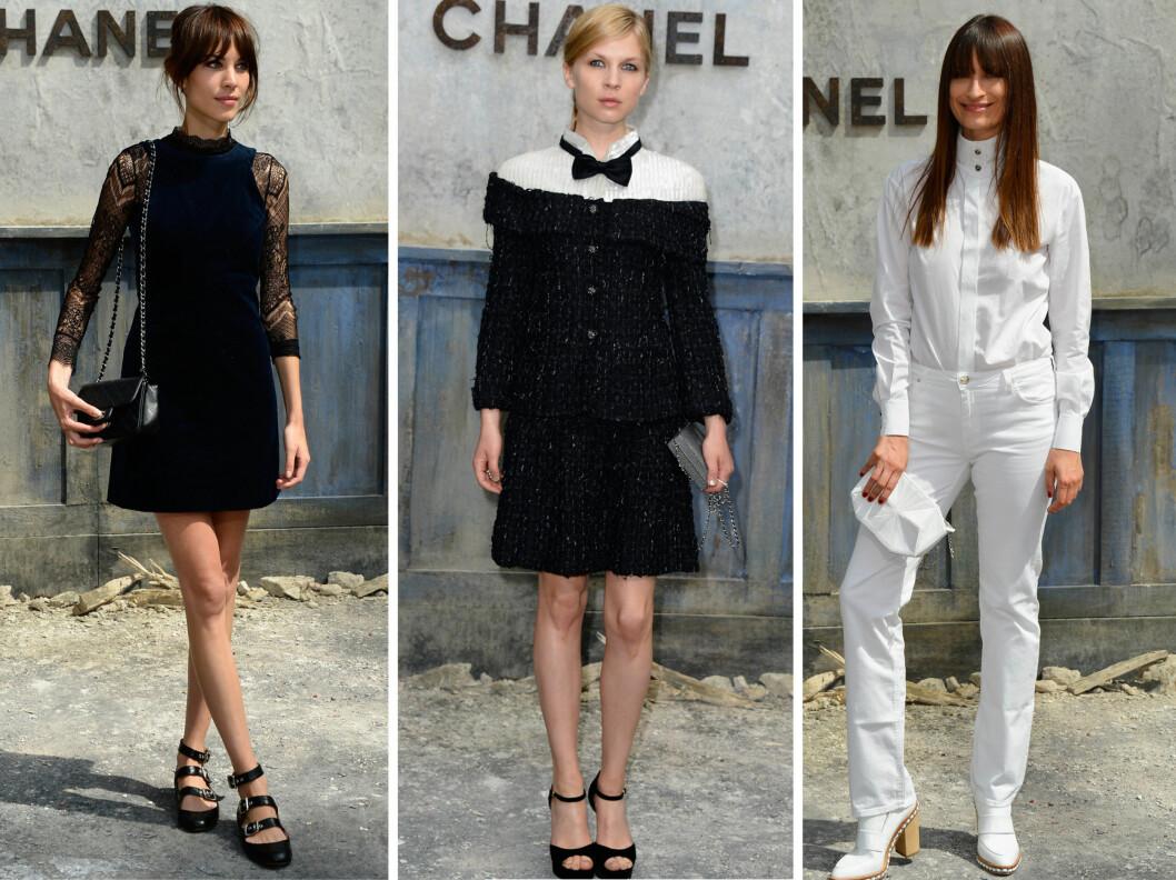 SVART OG HVITT: Alexa Chung, Clémence Poésy og Caroline de Maigret i sine svarte og hvite antrekk.  Foto: All Over Press
