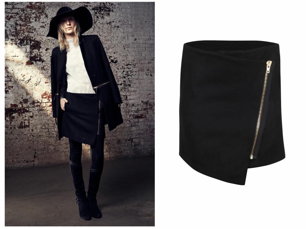 PASSER TIL ALT: Et svart skjørt er røft til både strømpebukser og med bare bein. Kombiner gjerne med en stor strikkegenser.  Foto: Bik Bok