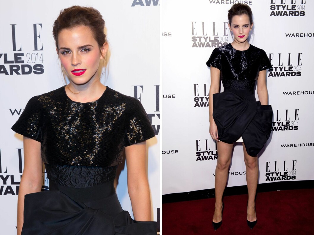 <strong>FLOTT:</strong> Emma Watson i en sexy, litt alternativ minikjole fra Giambattista Valli. Foto: All Over Press