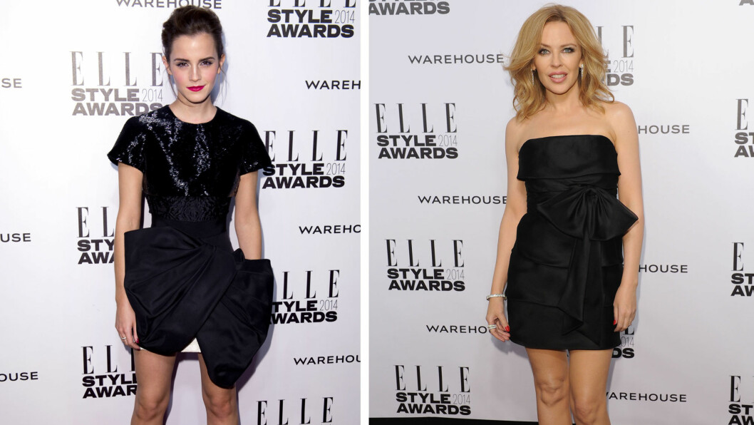 "SEXY I DEN LILLE SORTE: Skuespiller Emma Watson og popstjerne Kylie Minogue strålte i hver sin utgave av den klassiske ""lille sorte"" kjolen på Elle Style Awards i London.  Foto: All Over Press"