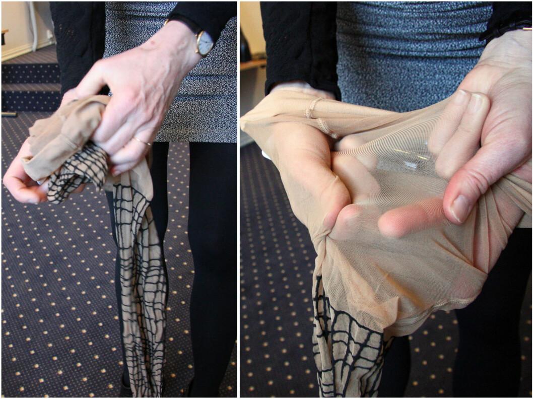<strong>FØR BRUK:</strong> Krøll sammen strømpebeina slik at de blir lettere å ta på. Merker og ujevnheter i strømpebuksa kan du lett få bort selv ved å gni forsiktig på strømpen.  Foto: Silje Ulveseth