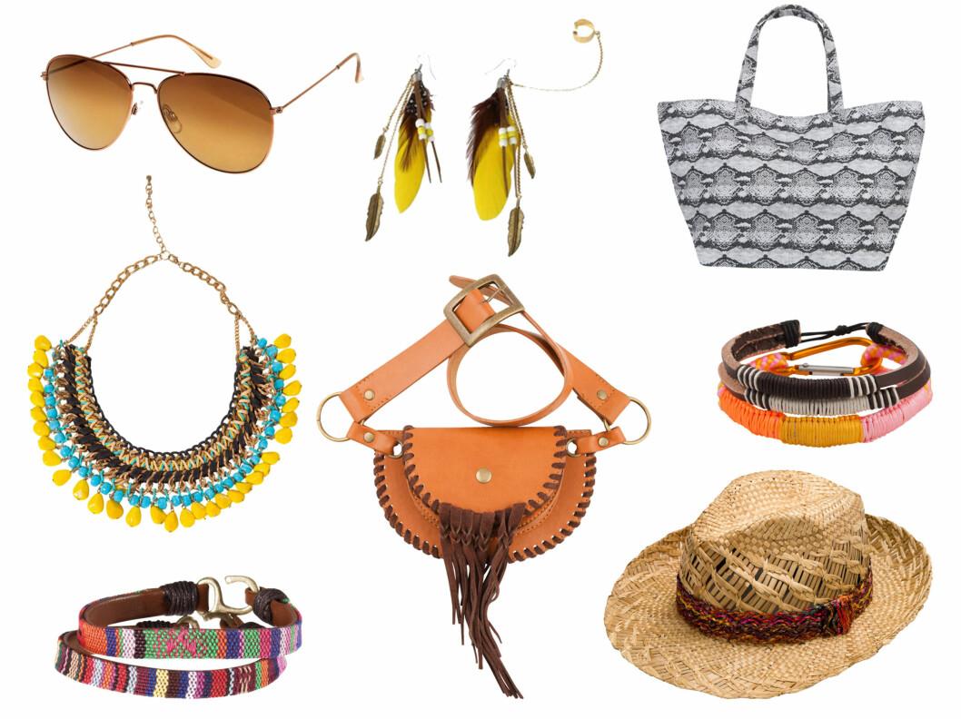 ROCK OPP MED ACCESSOIRER: Kule kjeder, armbånd, solbriller og vesker kan gjøre mye med festivalantrekket ditt. Fra topp venstre - solbriller H&M (80 kr), kjede fra Zara (250 kr), armbånd fra H&M (50 kr), øredobber fra Goldmine (900 kr), veske fra Cubus (150 kr), hatt fra Zara, armbånd fra Cubus (70 kr), veske fra Bik Bok (249 kr).  Foto: Produsenten