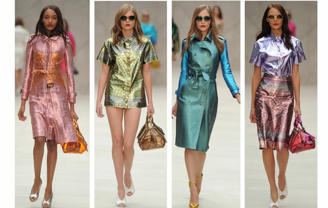 FORTSATT HOT: Metallisk holder seg minst like hot utover neste vår og sommer. Gjerne da i andre fargetoner. Her fra Burberry Prorsums vår/sommer 2013-visning under London Fashion Week denne uken.  Foto: All Over Press