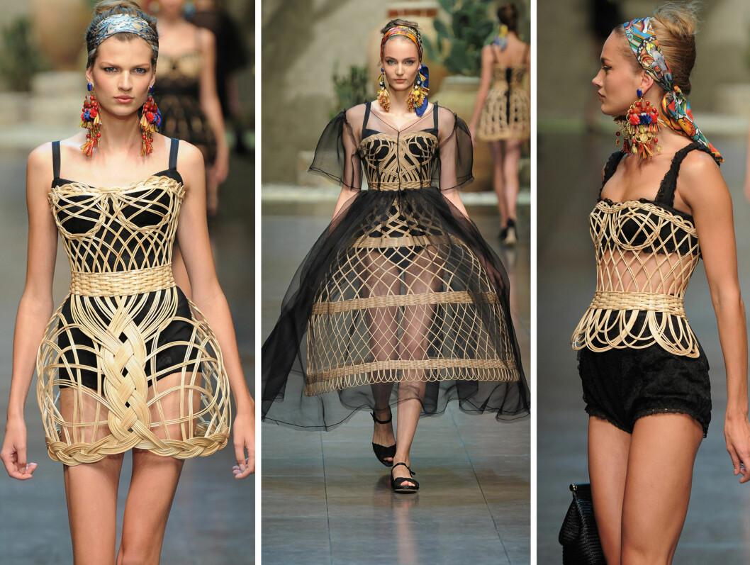 KURVER: Her ser du korsetter skjørt og kjoler konstruert med kurvlignende materialer.  Foto: All Over Press