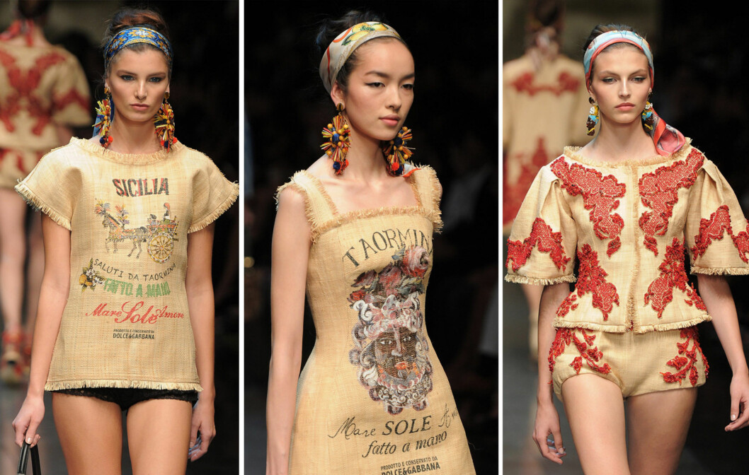 STRIESTOFF: Dolce & Gabbanas nye vår/sommer 2013-kolleksjon viser tydelig at strielignende materialer kommer for fullt i trendbildet til neste år.  Foto: All Over Press