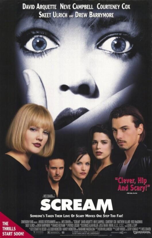 STJERNESPEKKET:: Drew Barrymore, David Arquette, Courtney Cox, Neve Campbell og Skeet Ulrich i rollene i den første «Skrik»-filmen. Foto: NTB scanpix