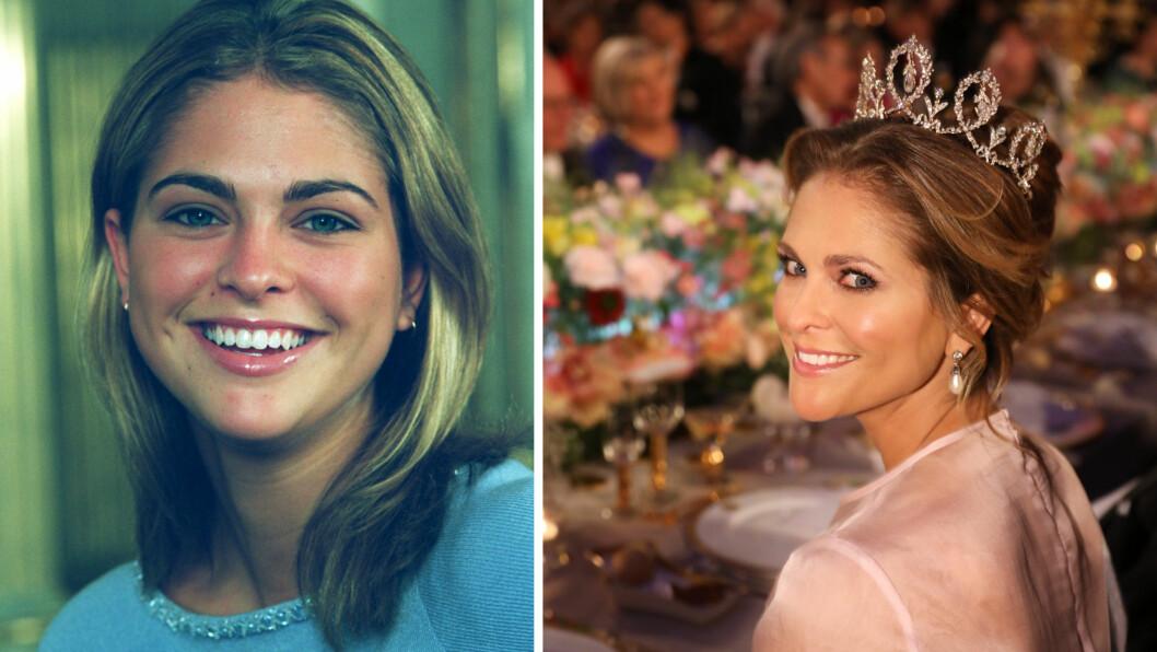 PRINSESSE MADELEINE: 18 år skiller disse to bildene av prinsesse Madeleine av Sverige - som fylte 35 år 10. juni 2017. Foto: NTB Scanpix