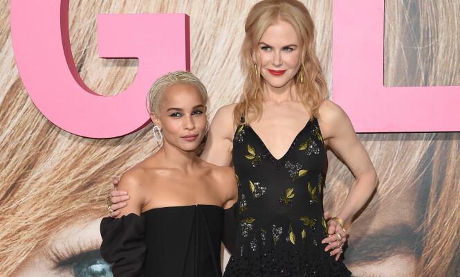 KOLLEGER: Zoe Kravits og Nicole Kidman spiller sammen i HBO-serien «Big Little Lies». Det få visste er at skuespillerne tidligere har bodd sammen. Her avbildet under en premierefest i februar. Foto: Axelle Woussen / NTB Scanpix <p>   </p>