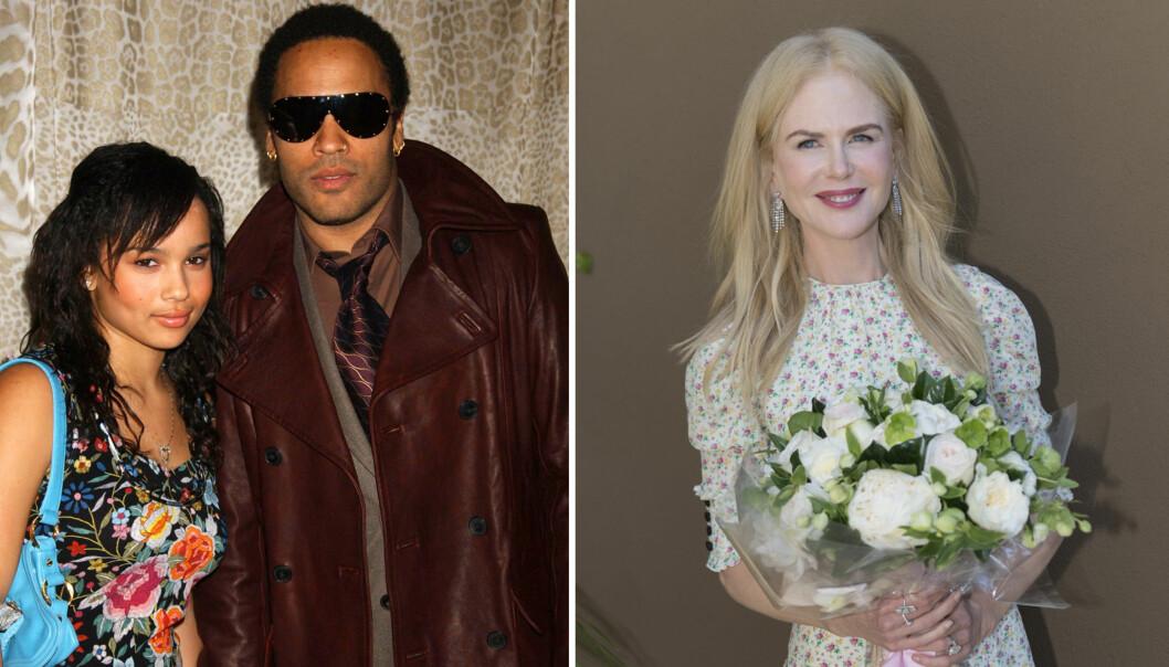 JOBBER SAMMEN: Datteren til Lenny Kravitz, Zoe (til venstre), var bare 11 år da Nicole Kidman var forlovet med hennes berømte pappa. Nå er Zoe og Nicole motspiller i HBO-serien «Big Little Lies». Foto: NTB Scanpix
