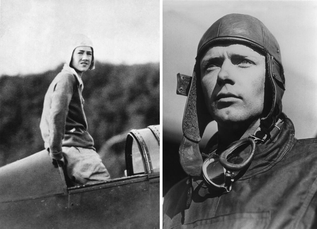 AKTIVT EKTEPAR: Charles Augustus Lindbergh var den første som fløy alene non-stop over Atlanterhavet (fra Long Island, New York, til Paris) i 1927, bare 25 år gammel. Også hans kone var en habil flyver. Bildet av Anne Morrow Lindbergh er tatt i 1933, mens bildet av Charles er tatt i 1927. Foto: NTB Scanpix