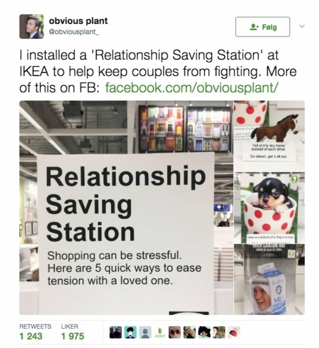 IKEA: Komikeren vil hjelpe par å unngå krangling under handleturen.  Foto: Skjermdump Twitter