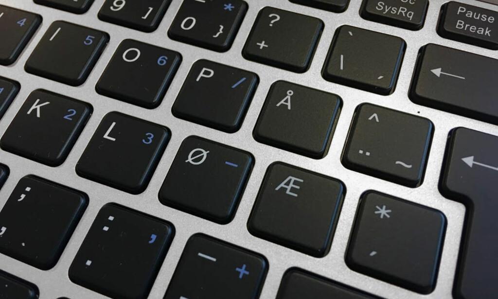 HELNORSK: Denne maskinen skal ikke selges i Sverige og Danmark. Derfor er tastaturet helnorsk. Foto: Bjørn Eirik Loftås