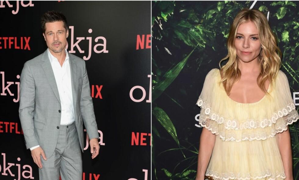 DATER: Brad Pitt og Sienna Miller skal angivelig ha begynt å date, ni måneder etter at skilsmissen mellom Brad Pitt og Angelina Jolie ble kjent. Foto: NTB scanpix