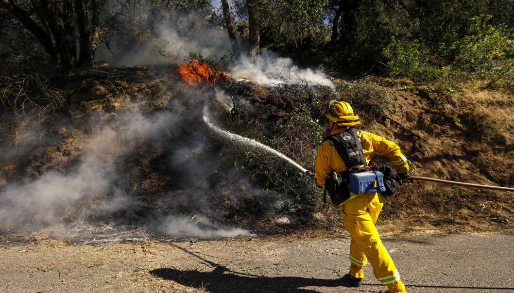 «HILL FIRE»: Brannvesenet jobber enda for å slukke brannen i California. Foto: NTB Scanpix